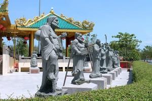 chinesische mönche stein statuen tempel