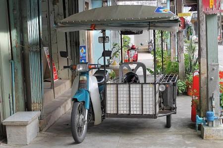 sidecar moped in sri takua pa old town