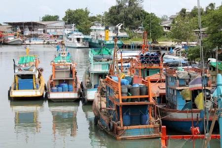 fischerboote im hafen von phuket