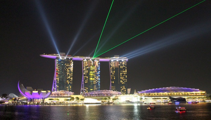 marina bay sands lasershow singapur