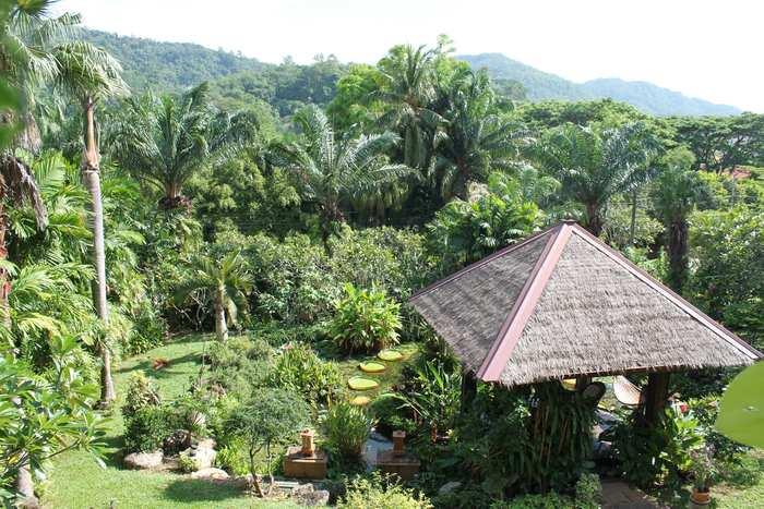 gartenanlage der ferienvilla in nai harn phuket
