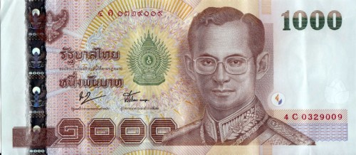 thai baht banknote 1000 geld wechseln thailand