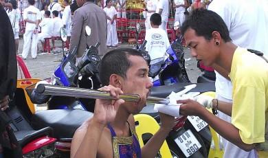 Vegetarian festival piercing