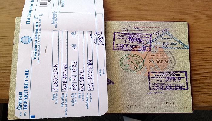 thailand visum ausreisekarte